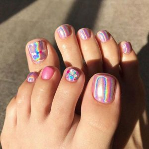 pink iridescent acrylic toes