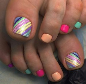 rainbow colors striping toes