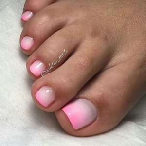 pink ombre pedicure