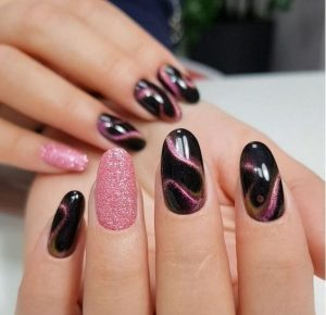 brown pink magnetic glitter