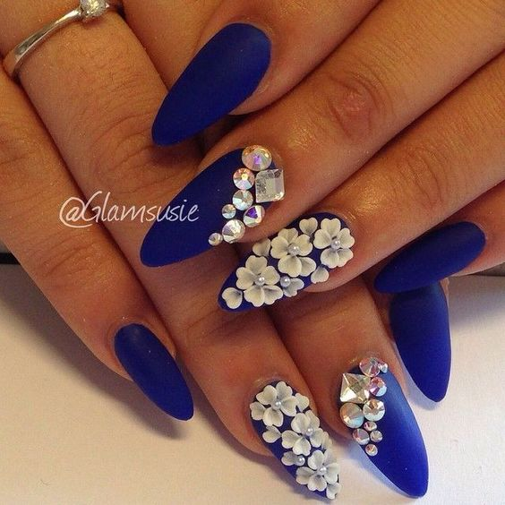 white flower stones on blue