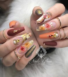 glam fall nails coffin