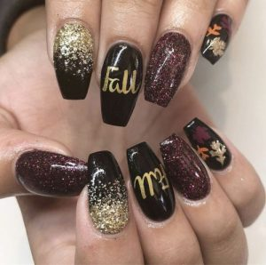 fall wording on nails