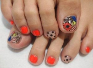 abstract neon floral toes