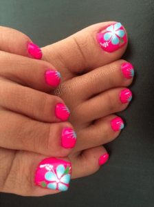 bright hibiscus pedicure