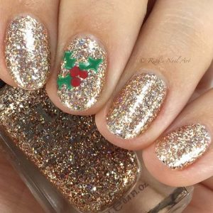 gold glitter with holly