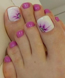 delicate purple floral pedicure