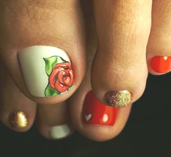 red rose illustration pedicure
