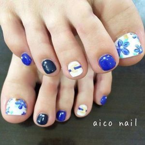 blue white floral toes