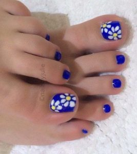 cobalt blue white flower toes