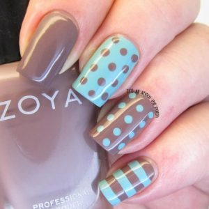 stripes and dots taupe teal