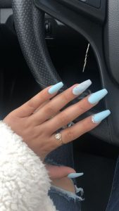 marbling blue coffin nails