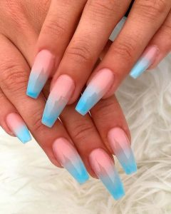 ombre french with blue tip