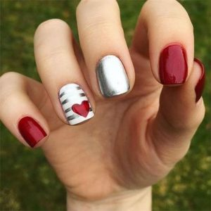 red heart with chrome stripe