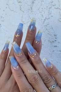 see through blue gold acrylics