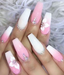 embellish flower pink white