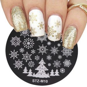 white gold glitter snow stamp
