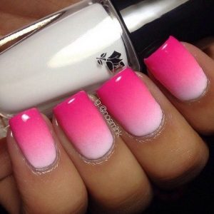 bright pink short white ombre