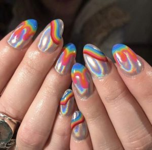 hologram with rainbow tips