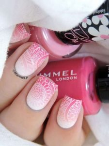 stamped pink white ombre