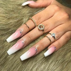 coffin rhinestone base ombre pink white