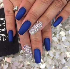 full rhinestone navy matte finish