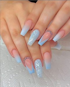 light blue designs french tip