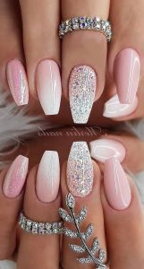 soft pink white ombre glitter