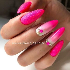 hot pink glitter fading to white