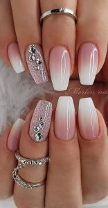 glitter accent french ombre