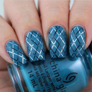 blue plaid stamp