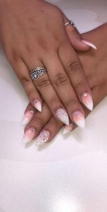 short stiletto ombre white pink
