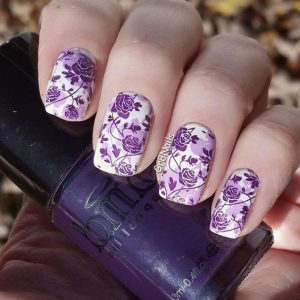 roses stamped purple