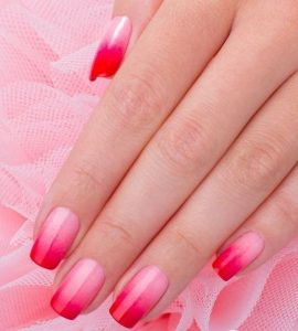 bright red pink french ombre tips