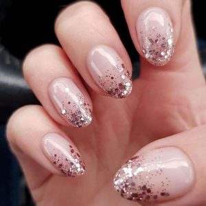 glitter ombre tips nude
