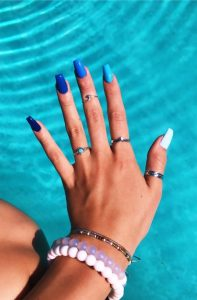 monochromatic blue nails