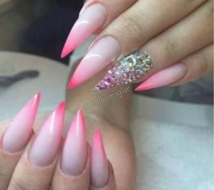stiletto pink tips stones