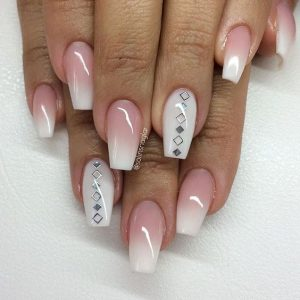 silver embellish ombre tips