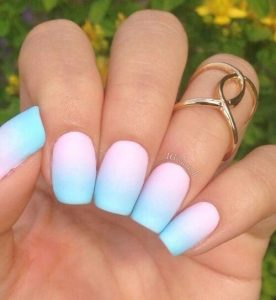 turquoise white ombre tips