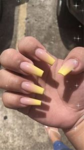 tips with yellow ombre
