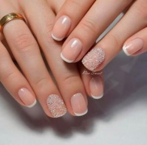 white rhinestone french tip
