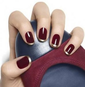 dark red chrome french tip