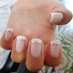 french tip metallic stripe