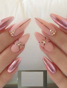 nude pink chrome touches