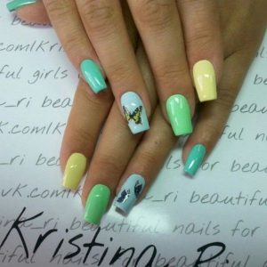 pastel green butterflies