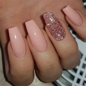 nude pink glitter touch