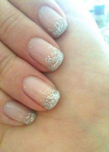 french ombre fade glitter tip