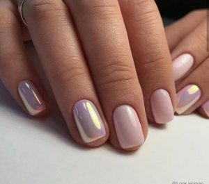nude pink iridescent finish