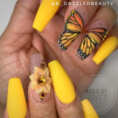 monarch nails yellow butterfly