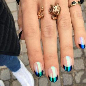 green french tip iridescent